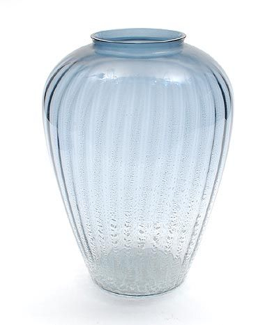 Steel-blue crackled Sonoor vase largest size design A.D.Copier 1935 executed by Glasfabriek Leerdam / the Netherlands
