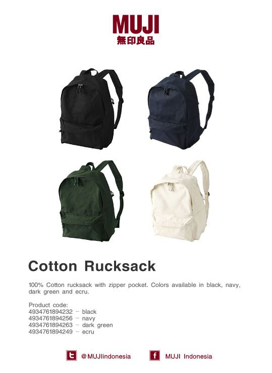 [MUJI Cotton Rucksack] 100% Cotton rucksack with zipper pocket. Colors available: black, navy, dark green and ecru.