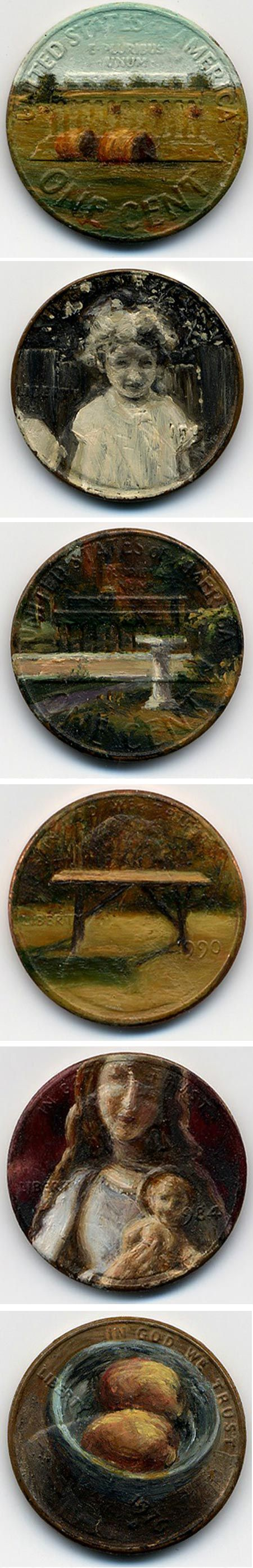Paintings on copper penny by Jacqueline Lou Skaggs. Incredible.