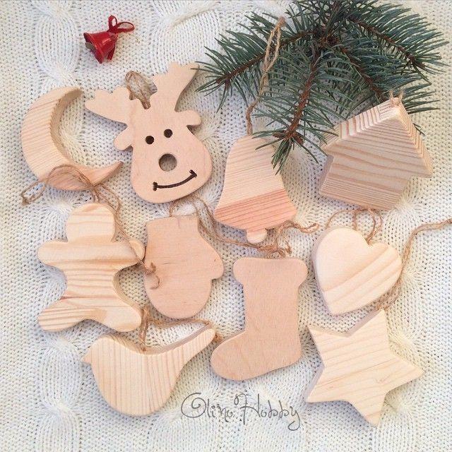 деревянные елочные игрушки, игрушки на елку из дерева, елочные украшения ручной работы