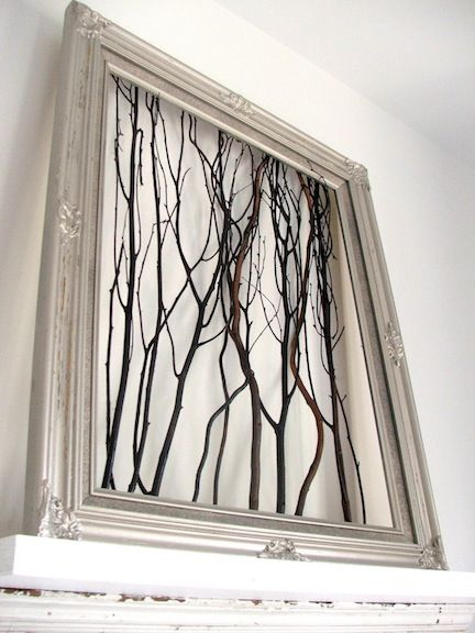 DYI Wall Art with tree branches and a frame ! Great idea