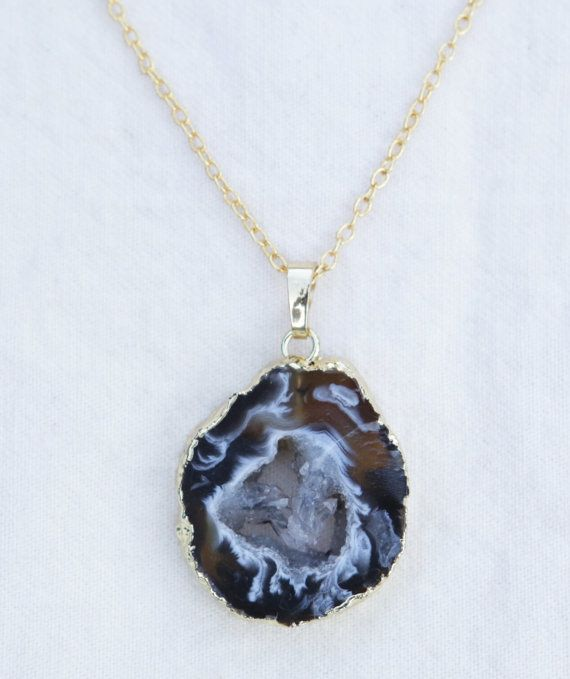 Brown Agate Slice Druzy Electroformed Necklace Gold by SlothAndCo