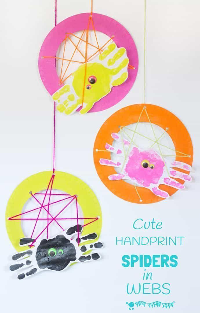 Handprint Spiders Herbst Basteln Halloween Crafts Halloween Und