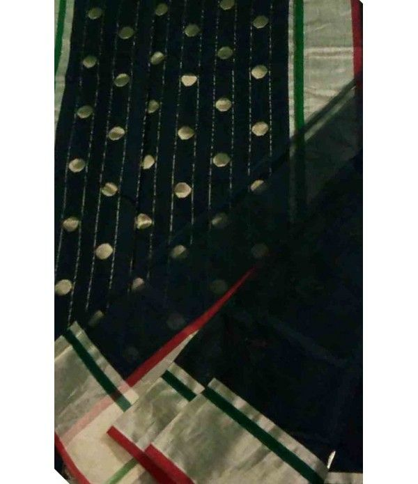 Black Handloom Chanderi Silk Saree