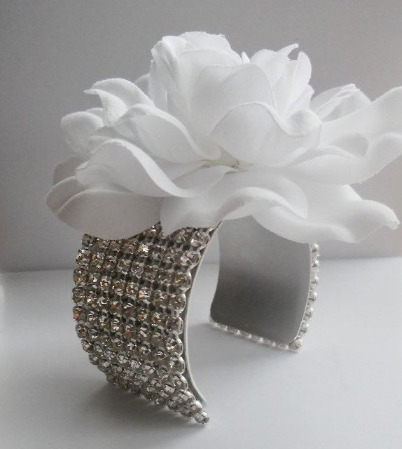 Gardenia Corsage -- Rhinestone Flower Cuff Bracelet for Bridal Party and Mother of the Bride. $30.00, via Etsy.