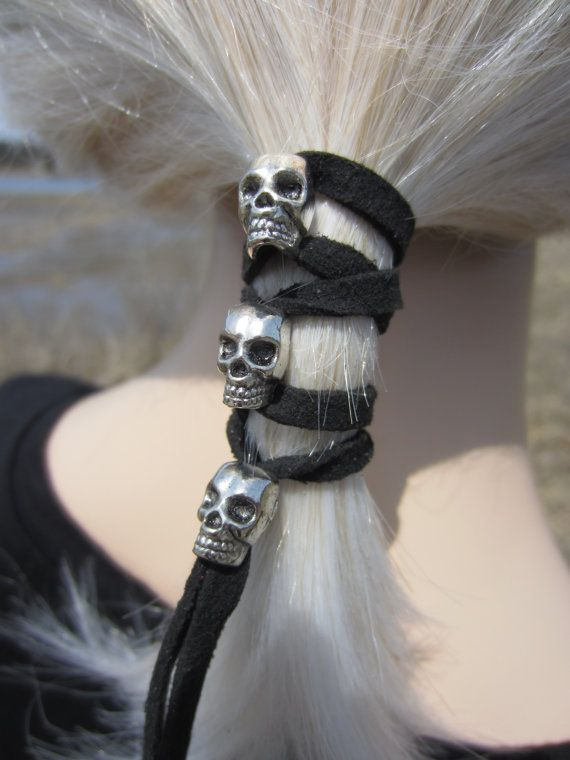 Hair Accessories Skull Jewelry Leather Ties Ponytail Holder Biker Hair Glove Wrap