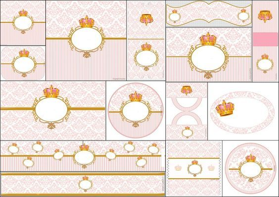 Corona Dorada en Fondo Rosa: Etiquetas para Candy Bar para Imprimir Gratis.