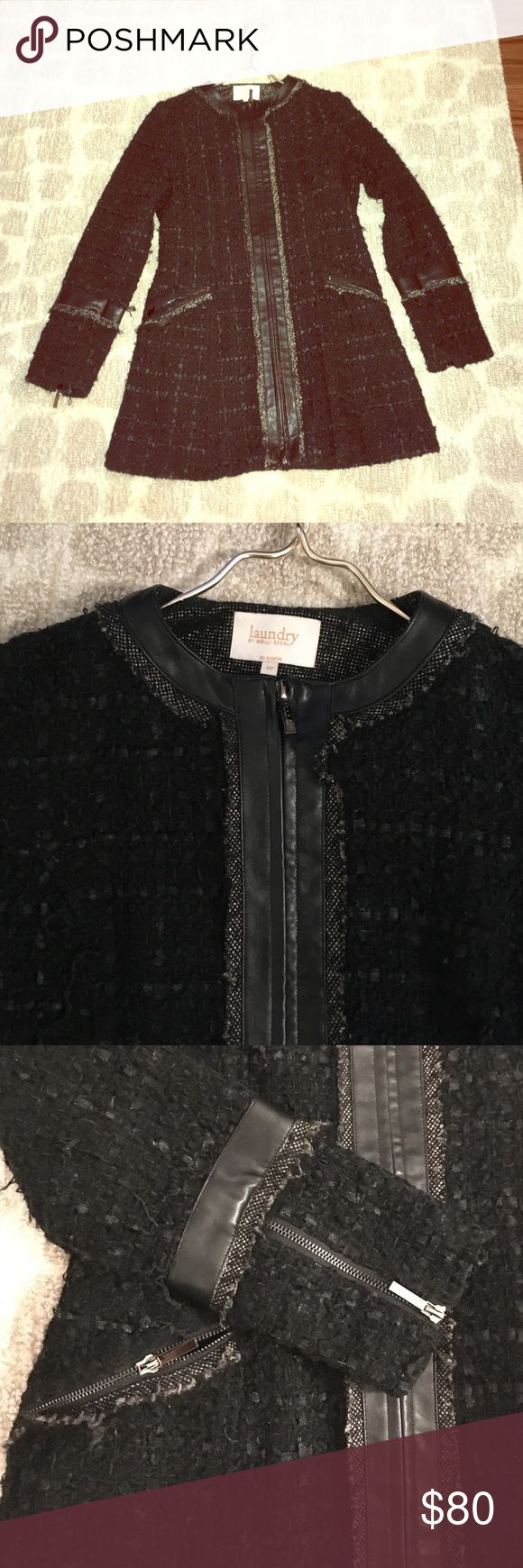 Stunning winter dress coat by Laundry Shelli Segal Black textured (Boucle/tweed) dress coat, wool blend and silk lined with leather trim. Purchased last year from Nordstrom (Laundry by Shelli Segal) but am only selling because it is too big. Laundry by Shelli Segal Jackets & Coats
