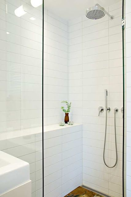 Ledge wall in shower studio karin: BADRUM
