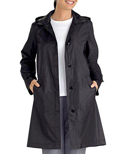 Femme Manteau Imperméable à Capuche Manches Longues Veste de Pluie  Fermeture Bouton Noir XL 36866d953fa0