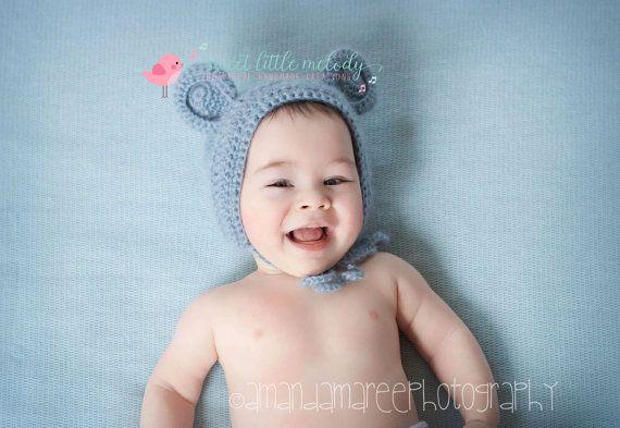 Bear Bonnet Newborn Bear Bonnet Baby Bonnet by SweetLittleMelody