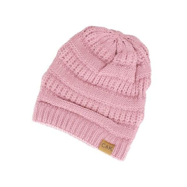 Women's Cents of Style Slouchy Knit Beanie ($15) ❤ liked on Polyvore featuring tops, pink, knit top, embellished knit tops, slouchy tops, pink knit top and pink embellished top