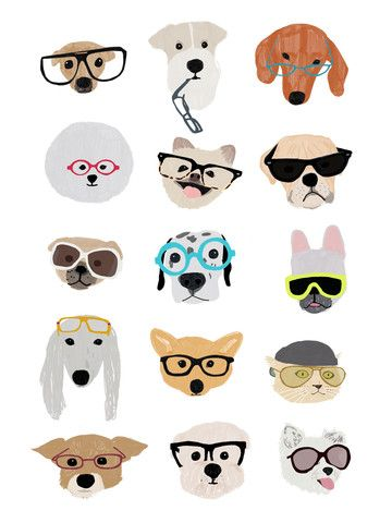 www.bigdrawshop.co.uk Hanna Melin 'Dogs with Glasses' – Big Draw Shop Artist: Hanna Melin Year: 2014 Digital print Illustration 29.7 cm x 42 cm A cool print featuring lots of different breeds of happy dogs wearing glasses! An image with lots of warmth and humour, cool vibrant colours and attitude. Great for a dog lover or to decorate a nursery. Will brighten up any room or hallway, and make people smile. A different portrait print or poster for dog fans.