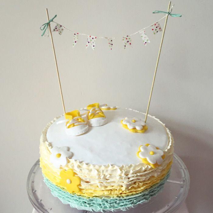 Ruffle Cake / yellow & mint / baptism