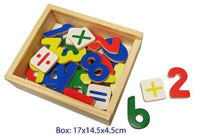 Wooden Magnetic Numbers Set - $13 This is a set of 37 colourful magnetic wooden numbers and maths symbols. Your child can make maths equations - addition, subtraction, division and multiplication. Children can use them on the fridge or magnetic whiteboard, perfect for children who find it difficult to write. Comes in a wooden box for storage. 3yrs +