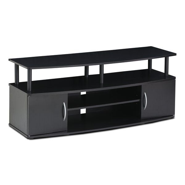 Zipcode™ Design Large TV Stand is a perfect fits into your modern simple lifestyle. It features the large top panel which holds up to 50-inch flat panel TV. There are open display shelves to hold your entertainment equipment and two compartments with doors for your loose stuff such as CDs, DVDs and games. Lightweight and space saving. The manufacturing process complies with the green rules of production. There is no foul smell, durable and the material is the most stable amongst the medium…