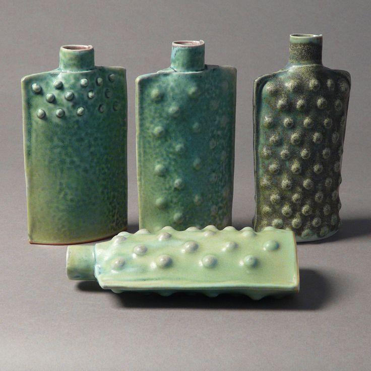 Tjossem Bud Vase - Porcelain Bumps Elliptical Flask in Moss Green