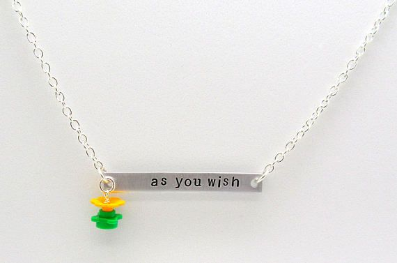 Princess Bride® inspired necklace handcrafted from authorized LEGO® branded products and sterling silver. #LEGO  #Necklace #Geek #mermaidsays #PrincessBride #AsYouWish