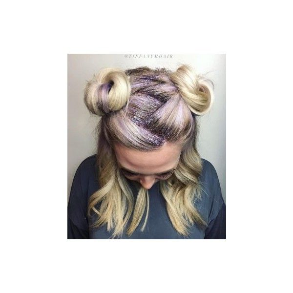 How-To Space Buns Glitter Roots (81 PEN) ❤ liked on Polyvore featuring beauty products and haircare