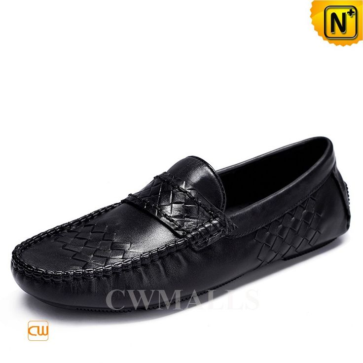 Comfortable leather driving moccasins crafted from woven grained calfskin  leather in black, leather driving shoes features decorative woven details,  ...