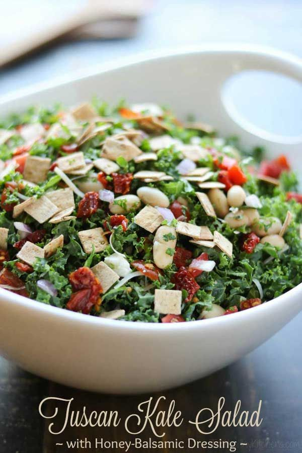 Loaded with so much great flavor and texture in every bite! This Tuscan Kale Salad with Honey-Balsamic Vinaigrette is so incredibly delicious ... you won't even notice how healthy it is! Seriously! Featuring tangy feta and parmesan, two kinds of tomatoes, cannellini beans, roasted red peppers, and fresh basil … all draped in a simple honey-balsamic vinaigrette dressing! #kale #salad #superfood #healthyrecipes #saladdressing #vinaigrette #kalesalad #greens #sponsored…