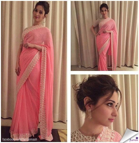 Tamanna Bhatia pink saree