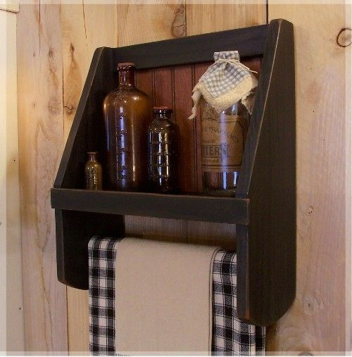 Primitive Towel Shelf / Bathroom Storage / Colonial Charm / Farmhouse Favorite / Color Choice