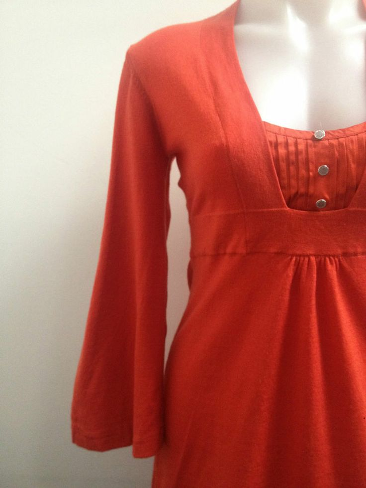 Brand New Ladies Karen Millen Orange Wool Knit Dress, Size 3