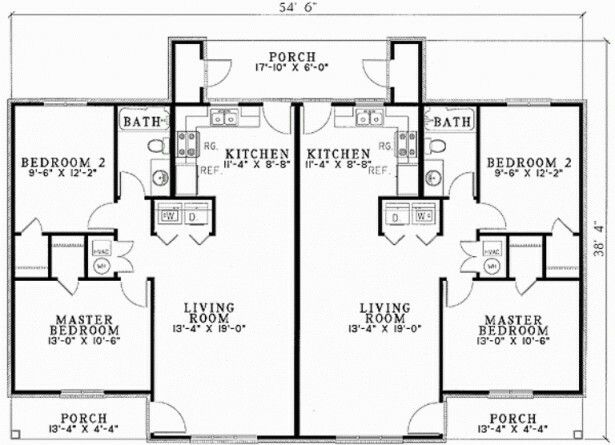 1000 ideas about duplex plans on pinterest duplex house for Duplex plans with garage in middle