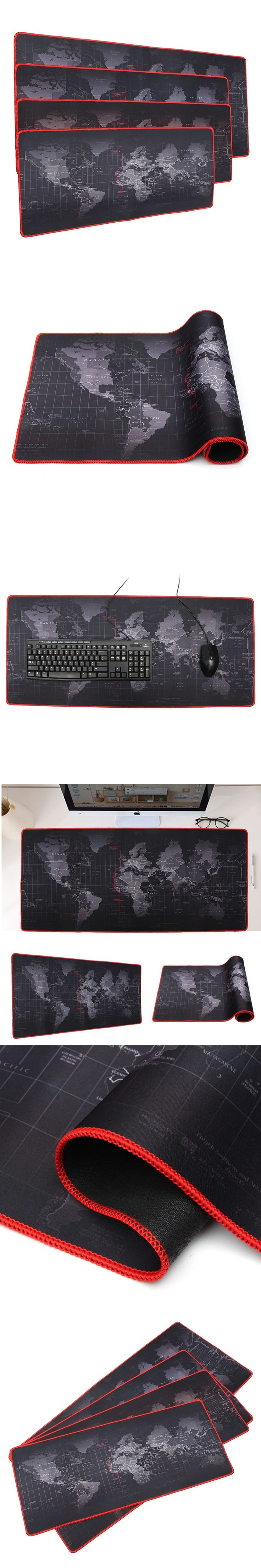 600x300/700x300/800x300/900x400mm World Map Locking Mouse Pad Gamer Large Size Computer Keyboard Mat Table Gaming Mousepad