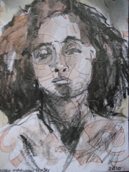 Aquarelle and graphite mailart portrait