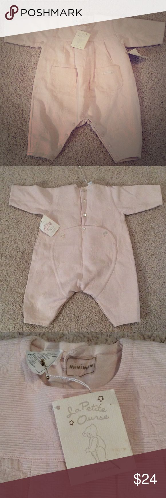 La Petite Ourse size 6 months NWT Made in France NWT La Petite Ourse size 6 months outfit. Light pink. So cute! My camera just doesn't capture the beauty of this outfit! Made in France. La Petite Ourse One Pieces