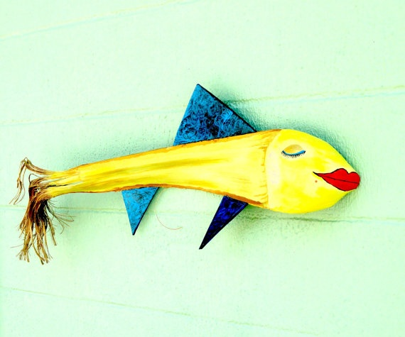 Palm Frond Lady Fish whimsical original art by IntoTheTrees on Etsy. Palm frond and recyled rubber.
