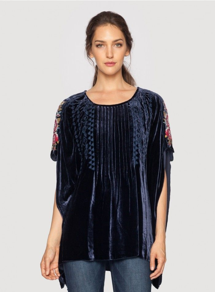 joy velvet pintuck poncho - plus size | poncho tops, dark blue and