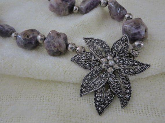 Purple Jasper Necklace, Marcasite Jewelry, Chunky Stone Necklace, Flower Pendant, Silver Necklace Extender