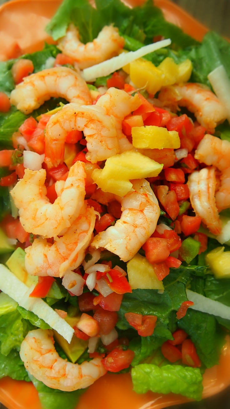 Pico Pineapple Salad with Shrimp, Avocado and Limed Jicama. Take your taste buds to a Mexican paradise with this delicious, nutritious and refreshing salad!