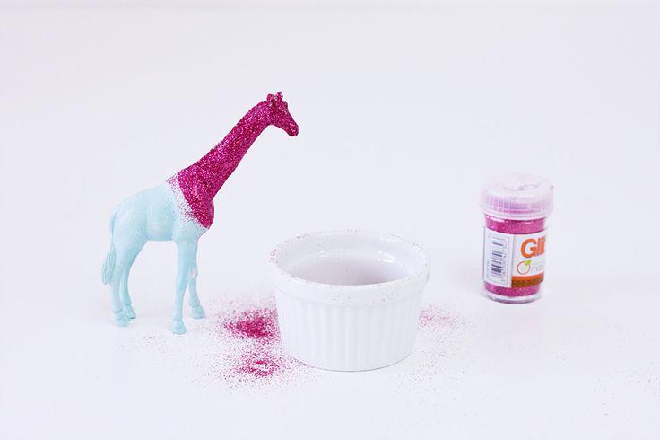 DIY-animaux-paillettes glitter girafe