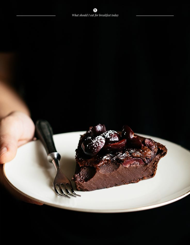 Clafoutis with Cocoa and Cherries. I guess I have to make two clafoutis now (what's the plural on that??).