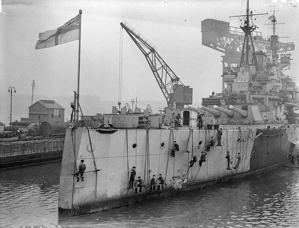 "HMS Anson (which would have been named HMS Jellicoe had not Churchill decided it was too ""controversial"") getting a lick of paint. HMS Beatty became HMS Howe."