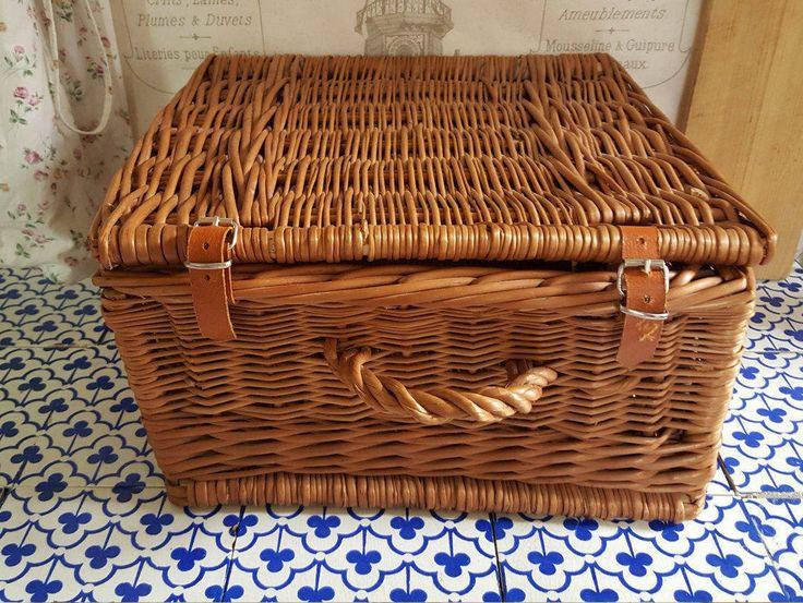 Vintage Wicker Children's Suitcase Basket...Picnic Trunk...Wicker Hamper...Ratan Basket...Storage Basket...Beach Basket...Luggage Basket... by ImagedeVintage on Etsy