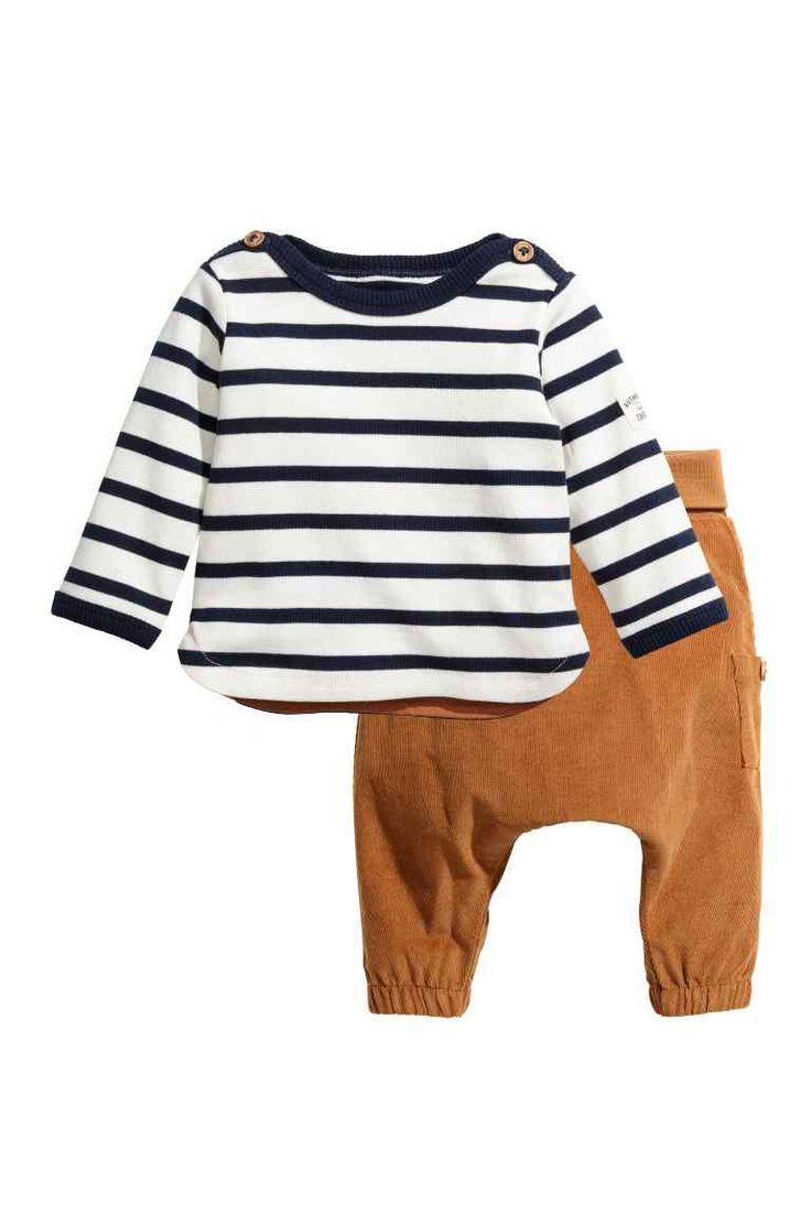 Trui en ribfluwelen broek - Donkerblauw/beige - KINDEREN | H&M BE 1