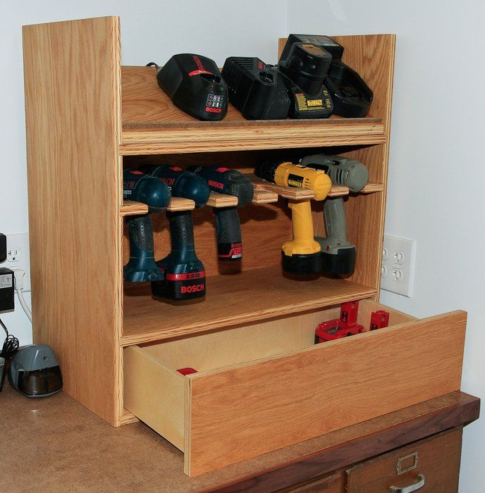 This cordless drill charging station is of