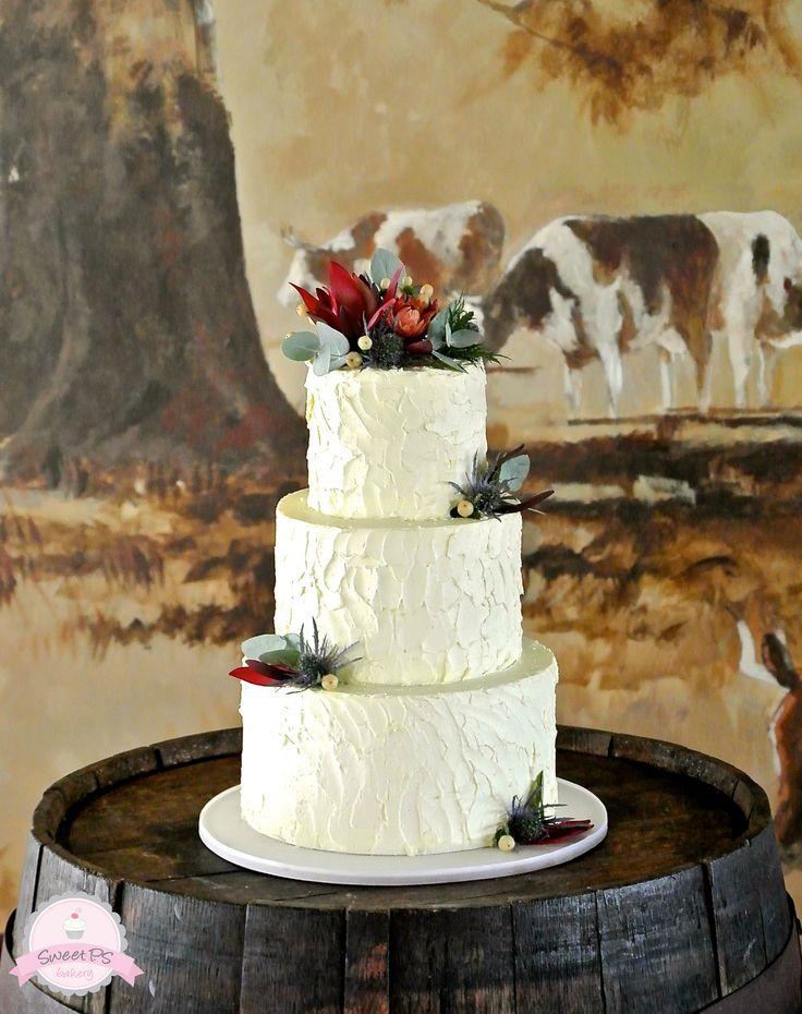 rustic wedding cake with native australian flowers