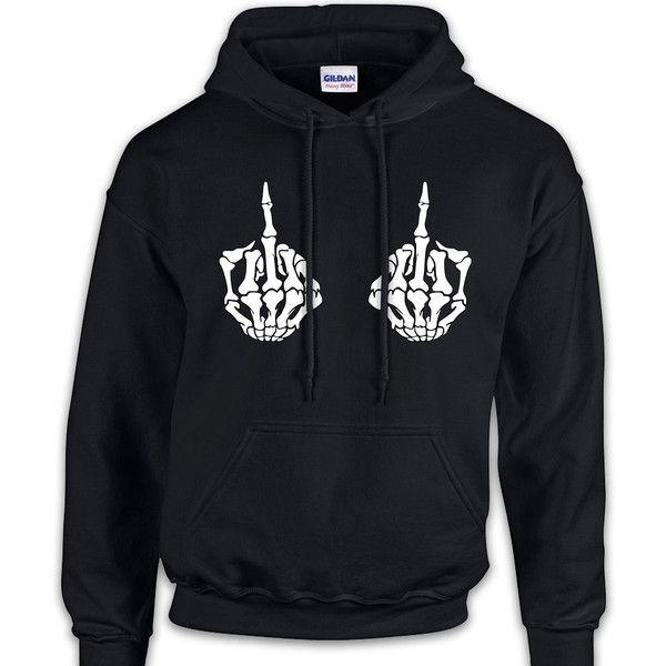 Skeleton Hands Middle Finger Sweatshirt Funny Cool Geek Nerd Gift... ($35) ❤ liked on Polyvore featuring tops, hoodies, sweatshirts, black, women's clothing, sweat shirts, black hoodie, black crewneck sweatshirt, black crew neck sweatshirt and black sweatshirt hoodie