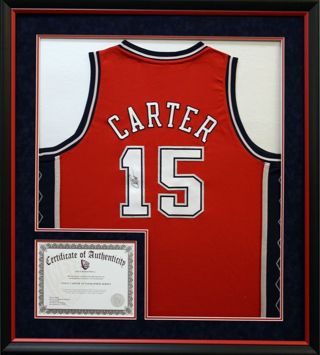 nbas carter signed basketball jersey matted and framed