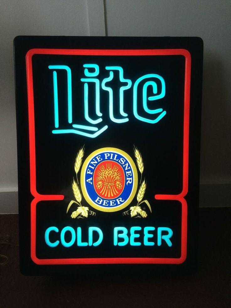 Vintage 1980 Miller Lite Cold Beer Lighted Bar Sign