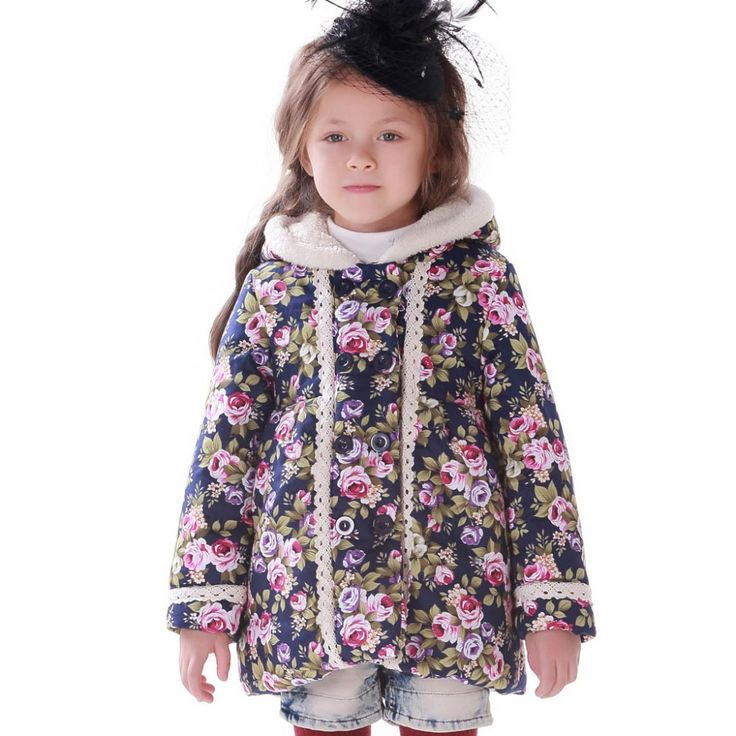 Fashion Girl Winter Parkas Children Clothing Baby Outerwear Hoody Winter Jackets for Girls  Flower Thicker Section  Kids Parkas