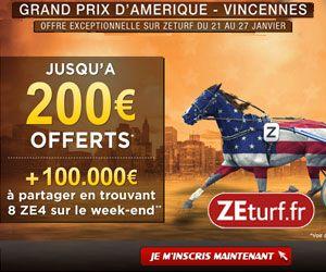 ZEturf : Bonus de 200 euros + 100000 euros à partager seulement les 26 et 27 janvier 2013...