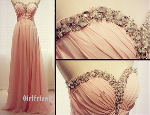 Sweetheart pink chiffon beading handmade floor-length prom dress / homecoming dress