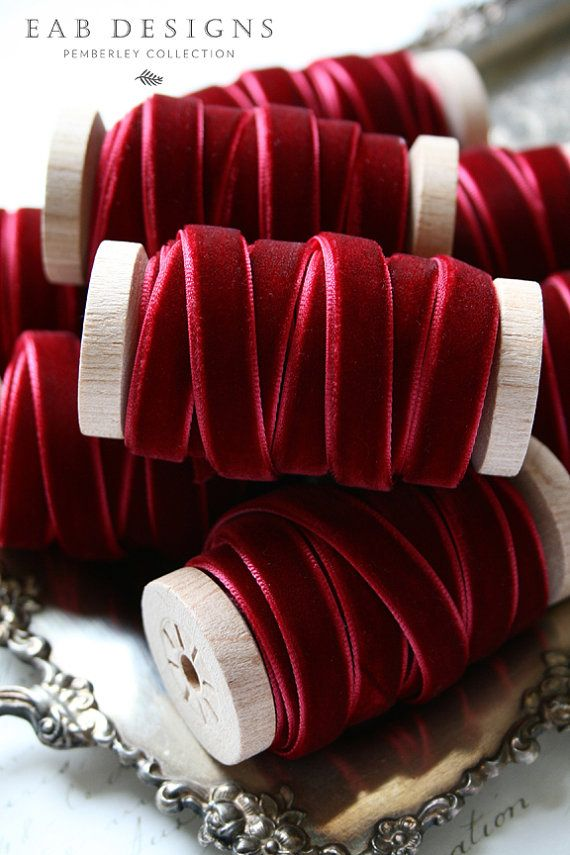Burgundy Velvet Ribbon Wine Velvet Ribbon Crimson by eabdesigns